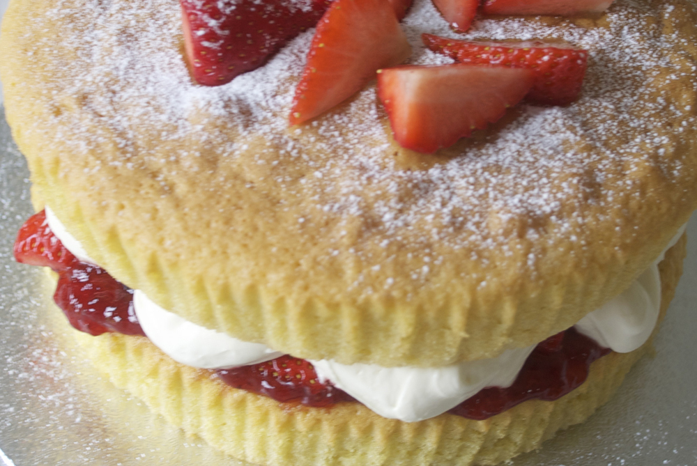 Strawberries and Fresh Cream Sponge Cake