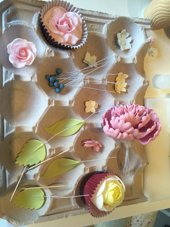All my sugar flowers ready to be added to the cake