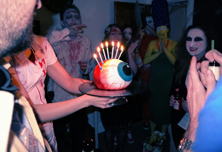 I felt my gruesome cake fitted in with the great array of Halloween costumes!